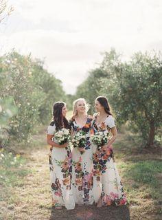 printed bridesmaid dresses