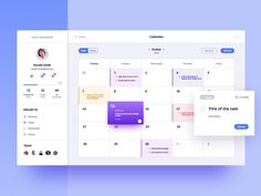 Calendar for Task Manager designed by Aga Ciurysek for Connect with them on Dribbble; the global community for designers and creative professionals. Web Dashboard, Dashboard Design, Ui Web, Planner Dashboard, Interface Design, User Interface, Calendar Ui, Calendar Design, Web Design