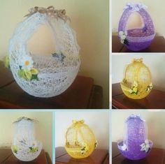 Growing up we always had the most wonderful homemade Easter baskets that my mother made for us. What I loved most is that you couldn't find them in a store, and not a single other friend of … Easter Crafts For Kids, Easter Gift, Easter Egg Basket, Balloons And More, Diy Crafts Hacks, Easter Crochet, Theme Noel, Egg Decorating, Holiday Crafts
