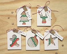 Washi Tape Gift Tags - use washi strips in the negative space left by die cuts