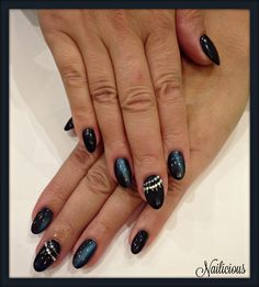 Blue black nails with cat eye & strass