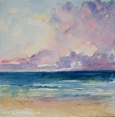 Original watercolor painting, HORIZON, beach painting, seascape painting, blue,clouds,watercolor seascape