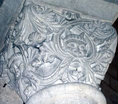 A 19th Century carving of a horned Green Man in the 12th Century Church of St. Michel d'Entraygues near Angoulême, France (photo Julianna Lees)
