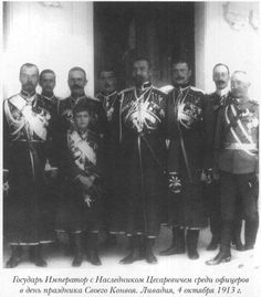 Tsar Nicholas II (Far Left) with son Tsarevich Alexei with Cossacks. 1913