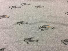 Stoff Ornamente - Sweat grau Flugzeuge  - ein Designerstück von die-Komplizin bei DaWanda