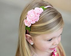 Felt Flower Headband -Turquoise Fuchsia Pink Headband - Newborn - Infant - Baby…
