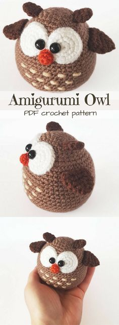 Adorable Amigurumi Owl pdf toy pattern to crochet. I love his cute round shape and the detail on his tummy. So cute for a handmade gift idea. Love it! #etsy #ad #pdfcrochetpattern #instantdownload #printable