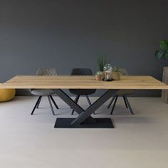 Sloane Wooden Cross Leg Dining Table, Natural - New ideas