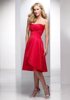 A-line Strapless Soft Ruched Bodice Pleated Overlay Skirt Satin Bridesmaid Dress-wbm0025, $164.95