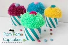 DIY Pom Pom Cupcakes!!!!   Ef Zin Creations