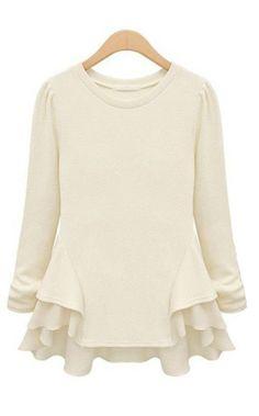 Beige Long Sleeve Contrast Chiffon Ruffles T-Shirt