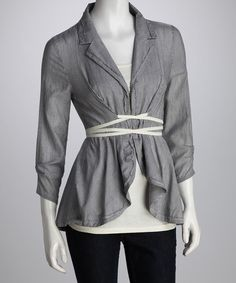 Take a look at this Black & White Stripe Wrap Top by Mystree on #zulily today!