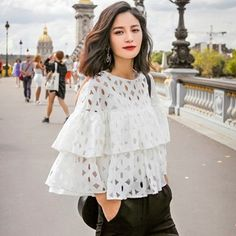 New Fashion Women Ladies Lace Hollow Out Ruffles Decor Loose Casual Tops Blouse