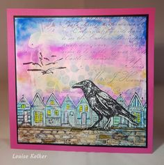 Art Journey Design-team: Crow and beach houses Focus 3, Beach Houses, Card Tags, Crows, Ravens, Atc, Mixed Media, Stamps, Card Making