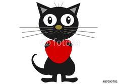 Schwarze Katze mit Herz
