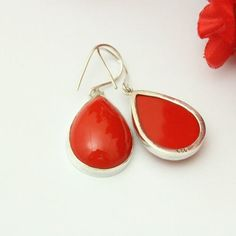 Red Coral earrings - Coral dangle earrings - Tear drop coral Jewelry