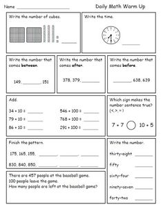 Worksheet 3rd Grade Math Review Worksheets first grade reading writing and worksheets on pinterest i like to give my second graders daily math review for morning work while take attendance lunch count revie
