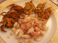 """""""Moeche"""" - soft shell crabs. Get them only when they're in season : )"""