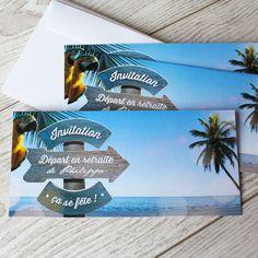 Carte invitation départ à la retraite sur un air de vacances pour fêter votre nouvelle vie, ref N13159