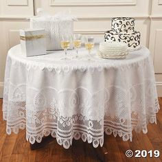 Drape that party table in something fancy with this Round White Lace Tablecloth. The perfect addition to your party supplies, use this tablecloth to accent . Vinyl Tablecloth, Round Tablecloth, Crochet Tablecloth, Tablecloth Ideas, White Tablecloth, Plastic Tablecloth, Dining Table Cloth, Dining Room, Cheap Tablecloths