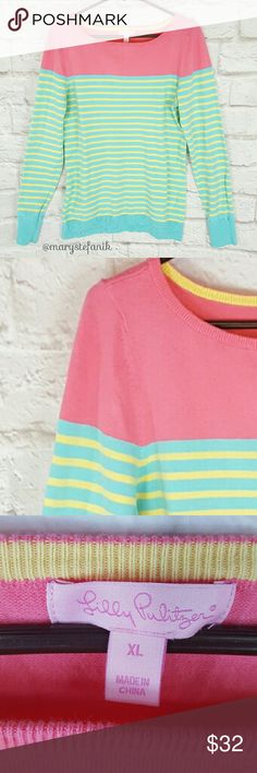 """Lilly Pulitzer Maria Boatneck Stripe Sweater xL Lilly Pulitzer Maria Boatneck Stripe Sweater xL in excellent used condition. Blue, yellow, and pink colors. 80% Cotton, 17% Nylon, and 3% Spandex.   Waist from Seam to Seam: 19"""" Length from Top: 27""""  Please let me know if you have any questions. Happy Poshing! Lilly Pulitzer Sweaters"""