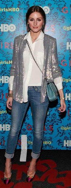 Olivia Palermo Silver Sequin Blazer # Trends Of Summer Apparel Palermo Sequin Blazer Silver Blazer Olivia Palermo Blazer Must-Have Blazer 2015 Blazer Where To Get Blazer How To Style Sequin Outfit, Sequin Blazer, Sequin Jacket, Sequin Top, Silver Sequin, Olivia Palermo Lookbook, Olivia Palermo Style, Low Rise Skinny Jeans, Cropped Skinny Jeans