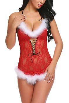 1f9fe00d1 Womens Christmas Lingerie Santa Dress Red Babydolls Lace Chemise - Red -  CW187Q6QHD9