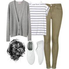 """REQUEST - Grey Cardigan"" by calderstyleguide gray tan stripe tee"