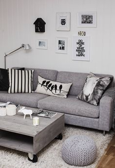 This is so me..other than the freaky, but cool sheep pillow:)  I'd love to see this but with bigger pictures etc above the couch.  @ Aga - brakuje tylko musztardy ;-)