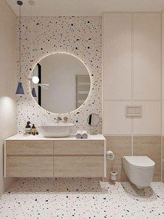 Banheiro com porcelanato decorado. Bathroom Design Luxury, Modern Bathroom Design, Minimal Bathroom, Modern Bathrooms, Modern Bathroom Mirrors, Small Bathroom Interior, Modern Design, Minimalist Bathroom Design, Best Bathroom Designs