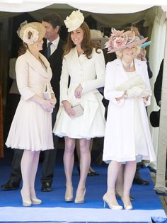 Catherine, Duchess of Cambridge (centre), with Zara (left) and Camilla, Duchess of Cornwall (right).