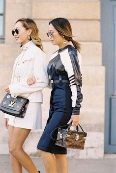 Aimee Song ofSong of Style+ her sister Dani Song, before Louis Vuitton, Paris, October 2016.