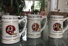 Set Of 3 Washington Redskins Super Bowl Champion Mugs 1982 1991 1987