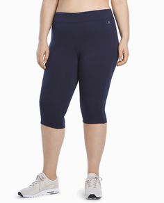 Shop Danskin women's Essential Capri Legging, a versatile option for fitness and casual wear. Features a wicking gusset and forward side seams for added style.