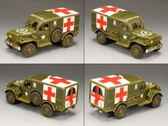 World War II U.S. Battle of the Bulge BBA037 Dodge WC54 Ambulance - Made by King and Country Military Miniatures and Models. Factory made, hand assembled, painted and boxed in a padded decorative box. Excellent gift for the enthusiast.