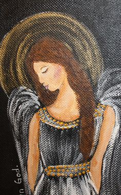 "Angel Painting, Scripture Art ""My Soul"" Original Painting"