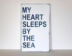 my heart sleeps by the sea beach sign beach by SevenSimonLaneBeach, $39.00