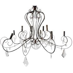 French Wire and Crystal Chandelier