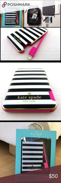 Kate Spade Slim Portable Charger for iPhone/iPod Brand new in box!                                          Details & Care Black-and-white stripes pattern a slim portable charger, allowing you access to a full charge on your iPod or iPhone anywhere you go. Integrated lightning connector and charging cable. Quick charge time. Resin. By kate spade new york; imported. kate spade Accessories
