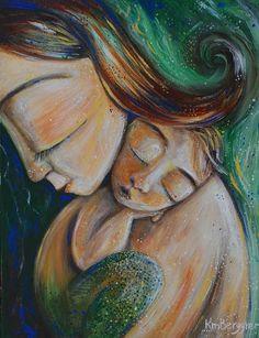 motherhood art, babywearing, breastfeeding, family love by kmberggren Baby Painting, Family Painting, Love Painting, Painting & Drawing, Mother And Child Painting, Mother Art, Arte Pop, Acrylic Art, Painting Inspiration