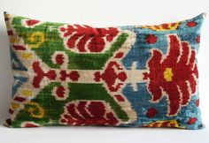 Sukan / SALE - Soft Hand Woven Silk Velvet Lumbar Ikat Pillow Cover - 14x24 inch - White, Red, Blue, Yellow, Green Color. $69.95, via Etsy.