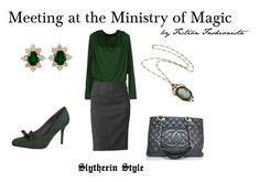 Meeting at the Ministry - Slytherin by eva-gabrielle-thompson on Polyvore featuring polyvore, fashion, style, Plein Sud, Apt. 9, Anna Field, Chanel, Kurt Wayne, Retrò and clothing