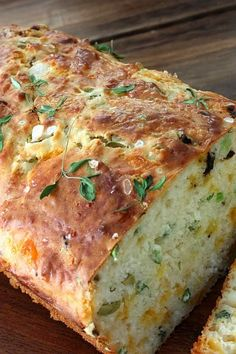 Cheese, Olive and Buttermilk Herb Bread - just mix and bake - no rising or kneading.  The smell from the oven while the loaf is being baked may drive you to stand in front of the oven waiting for the timer to ring.