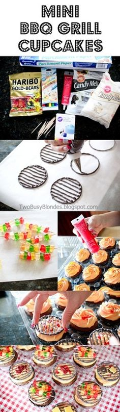 Super cute cupcake tutorial for kabobs on the grill cupcakes. A little more time-consuming than I usually do, and heavy on the candy melts. Yummy Treats, Sweet Treats, Yummy Food, Cupcake Recipes, Cupcake Cakes, Cupcake Ideas, Cup Cakes, Cupcake Decorations, Cupcake Pics