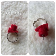 RED FELTED ADJUSTABLE Ring of merino wool and red crystal bead, red-grey spirals, helix by LanAArt on Etsy