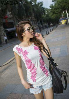 novas promoções 2014 acolhedor quente moda mulheres blusa shirtst- camisa moda algodão casual t- camisa camisa florral caráter US $8.77