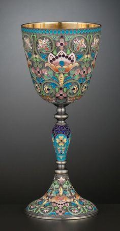 A RUSSIAN SILVER GILT AND CLOISONNÉ ENAMEL GOBLET . Ivan Petrovich Khlebnikov…