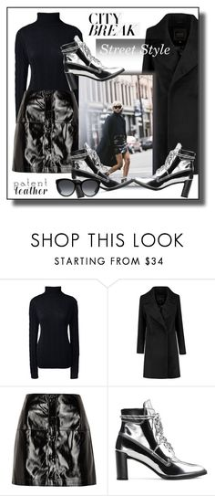 """City Slickers: Patent Leather Trend"" by fashionlibra84 ❤ liked on Polyvore featuring Lands' End, River Island, Stuart Weitzman and Gucci"