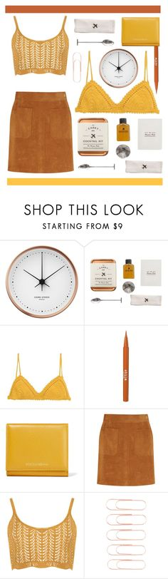 """mustard."" by randomfashioncollections ❤ liked on Polyvore featuring Georg Jensen, W&P Design, SHE MADE ME, Stila, Dolce&Gabbana, Frame, WearAll, brown, mustard and copper"