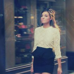 Marzia Bisognin (CutiepieMarzia) in a hi neck lace shirt and peplum pencil skirt. Can I please just be her? ;)